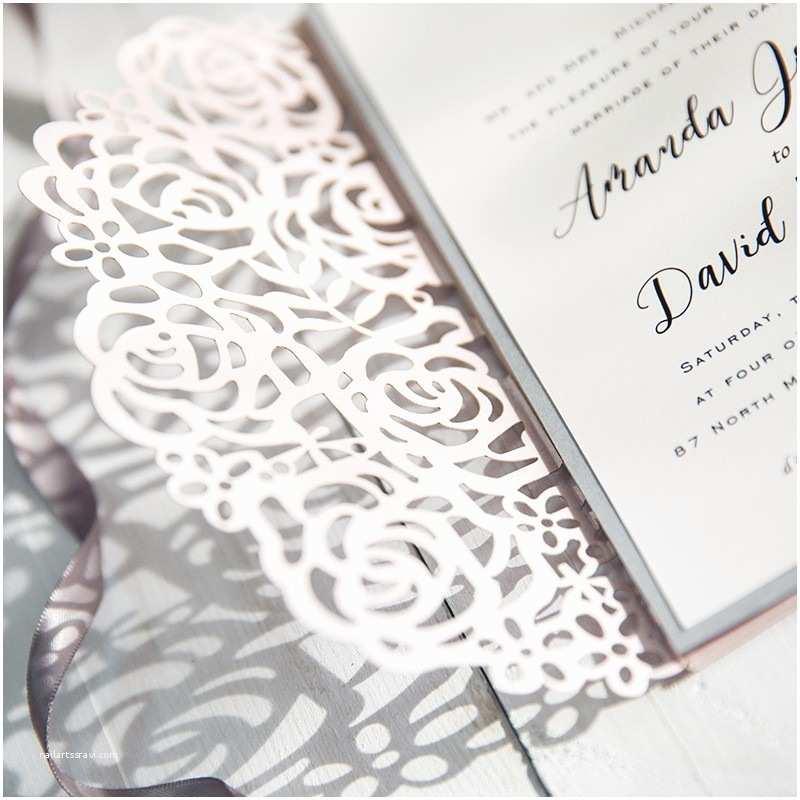 Laser Cut Pocket Wedding  Blush Pink And Gray Laser Cut Pocket Wedding