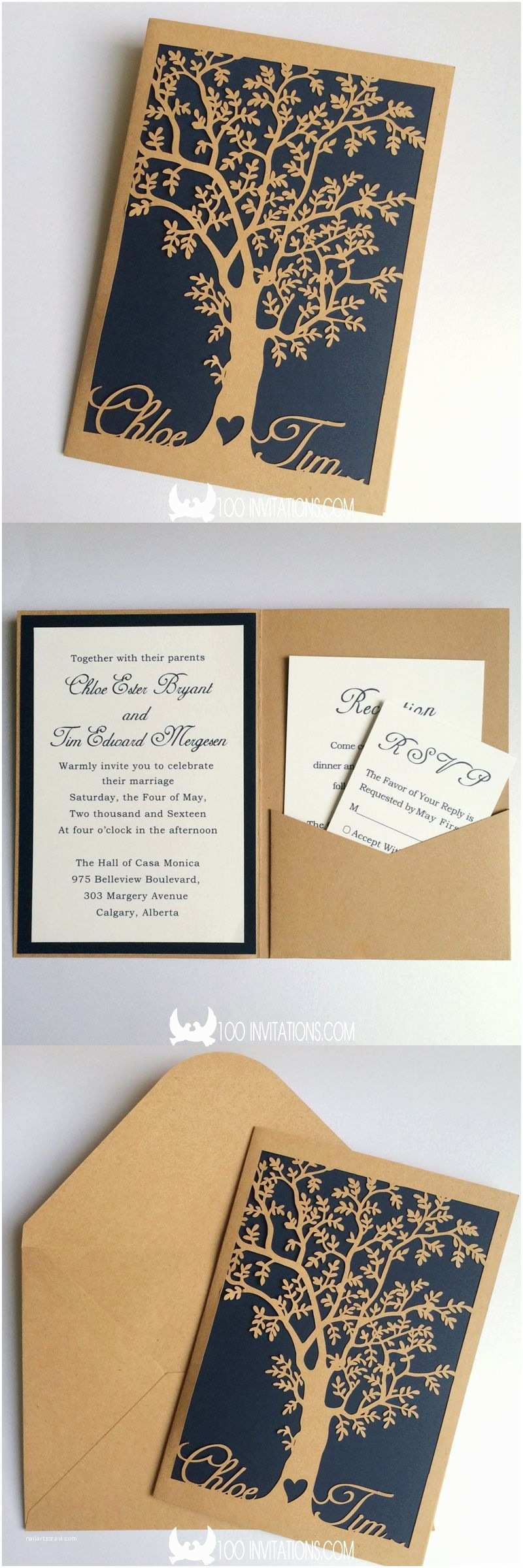 Laser Cut Pocket Wedding Invitations Custom Laser Cut Bride and Groom S Name Tree Pocket