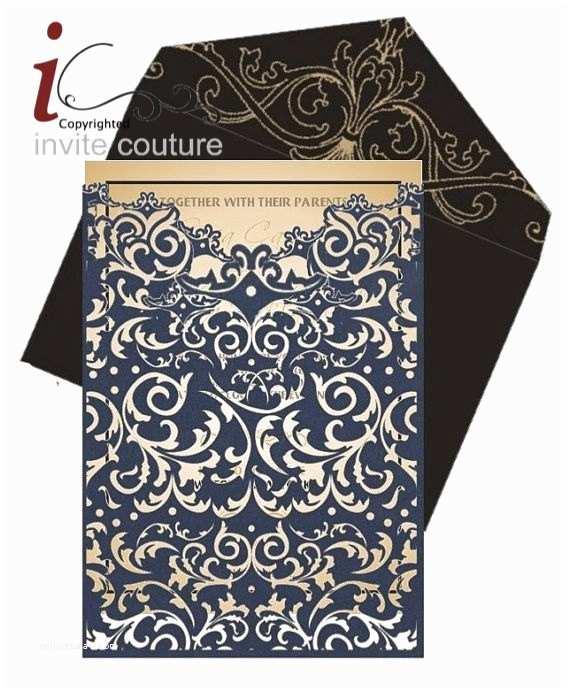 Laser  Pocket Wedding Invitations Custom Lasercut Luxury Wedding Invitation Pocket Die