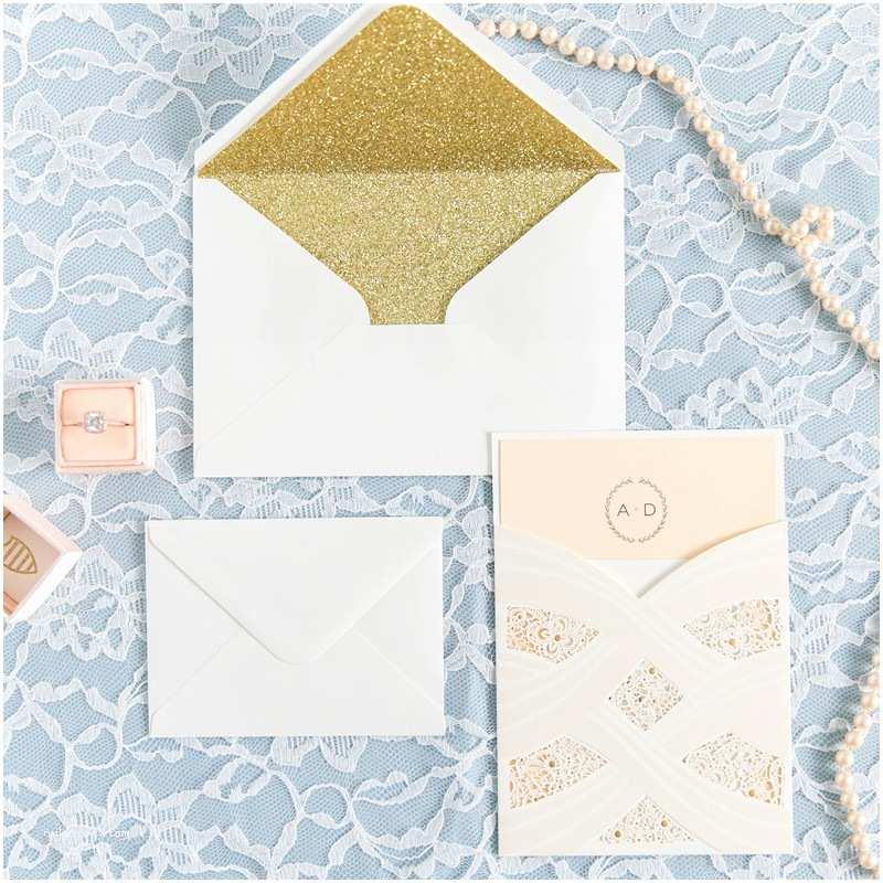 Laser Cut Pocket  Invitations Elegant Foil Stamped Laser Cut Ivory Pocket