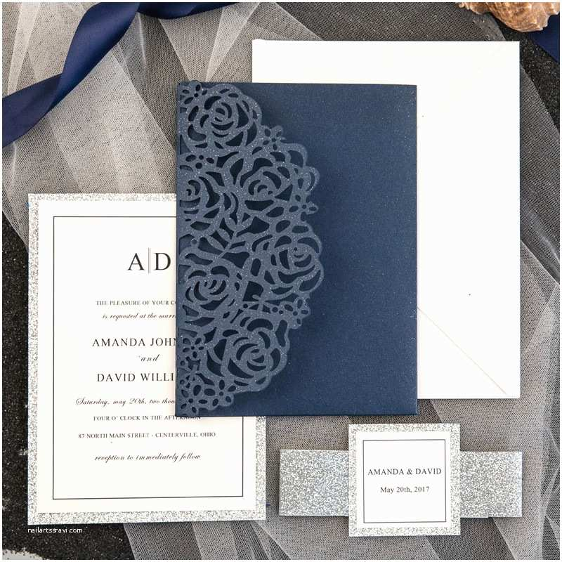 Laser Cut Pocket  Invitations Elegant Navy Blue Rose Laser Cut Pocket