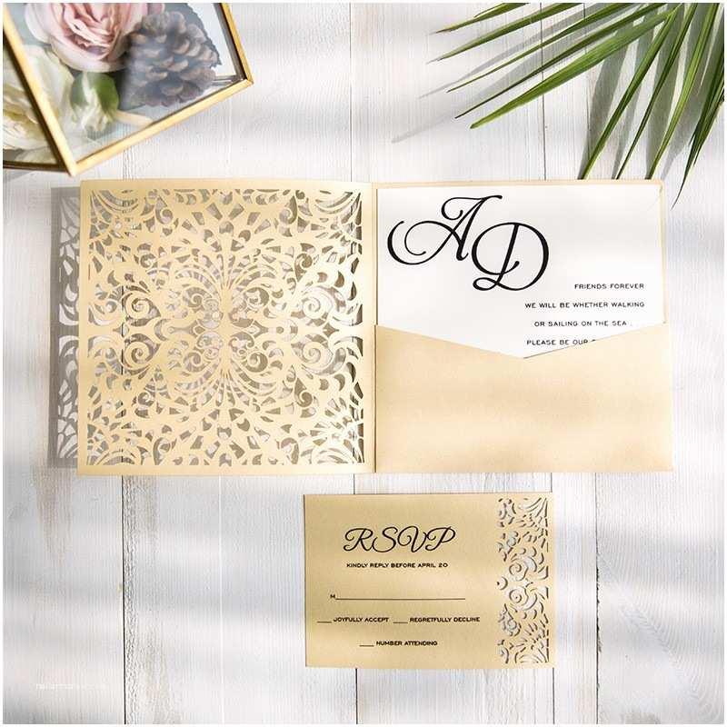 Laser Cut Pocket Wedding Invitations Gold Laser Cut Pocket Wedding Invitations With