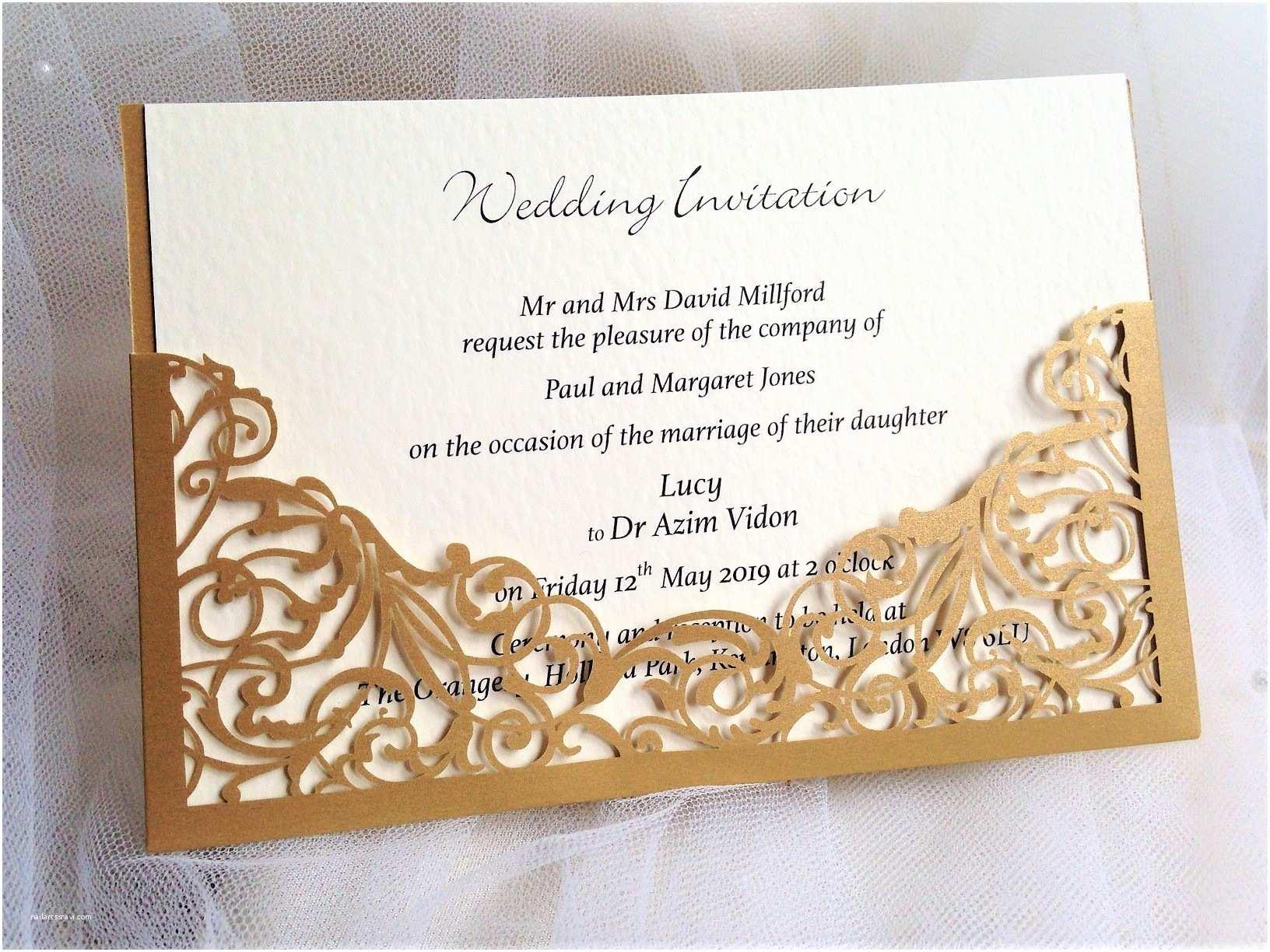 Laser Cut Pocket Wedding Invitations Gold Pocket Laser Cut Wedding Invitations £2