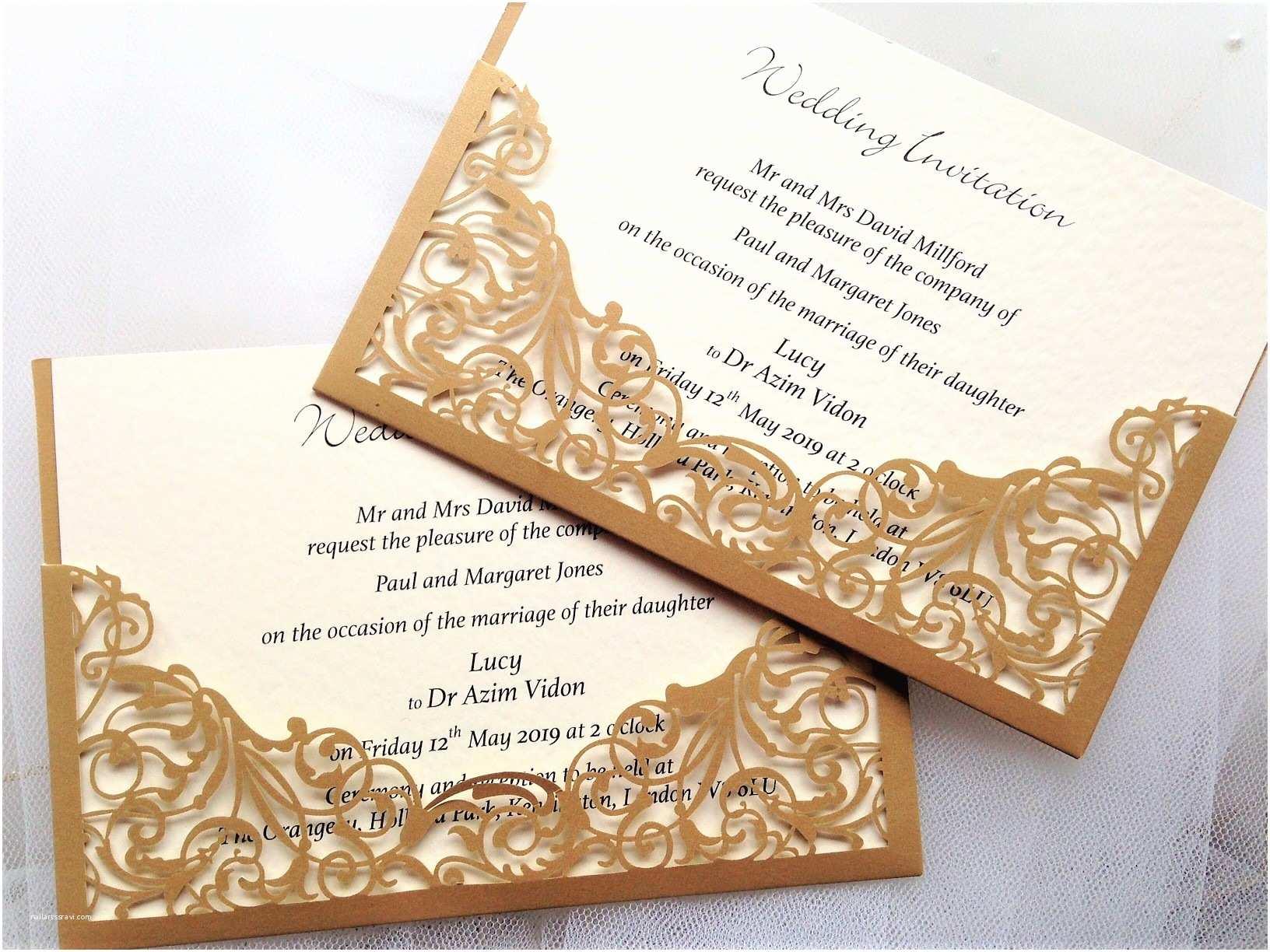 Laser Cut Pocket Wedding Invitations Gold Pocket Laser Cut Wedding Invitations £2 Each