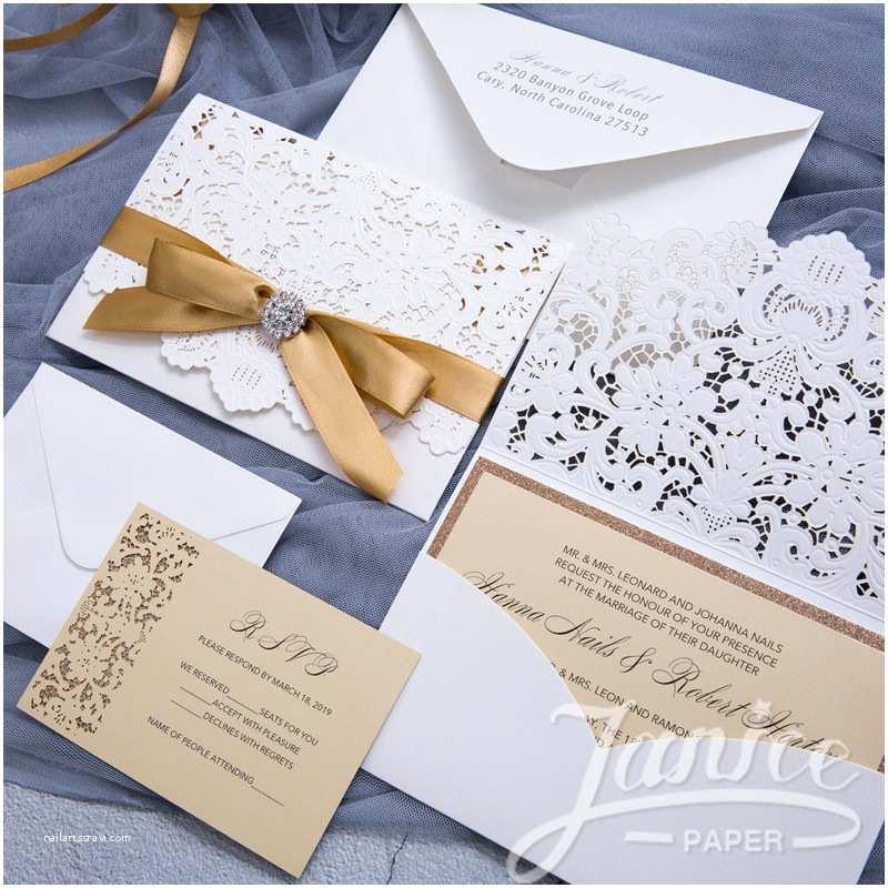 Laser Cut Pocket Wedding Invitations Graceful Pearl White Laser Cut Pocket wholesale Wedding