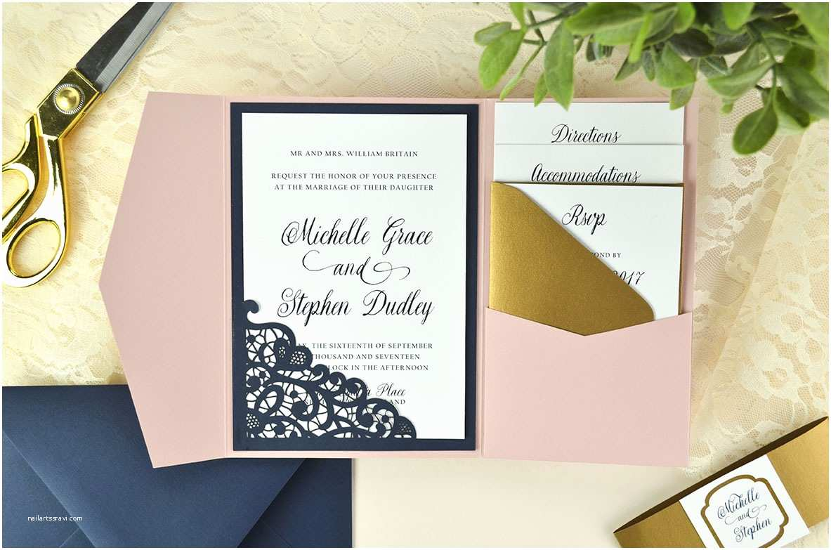 Laser Cut Pocket Wedding Invitations Lace Laser Cut Wedding Invitation Cards & Pockets