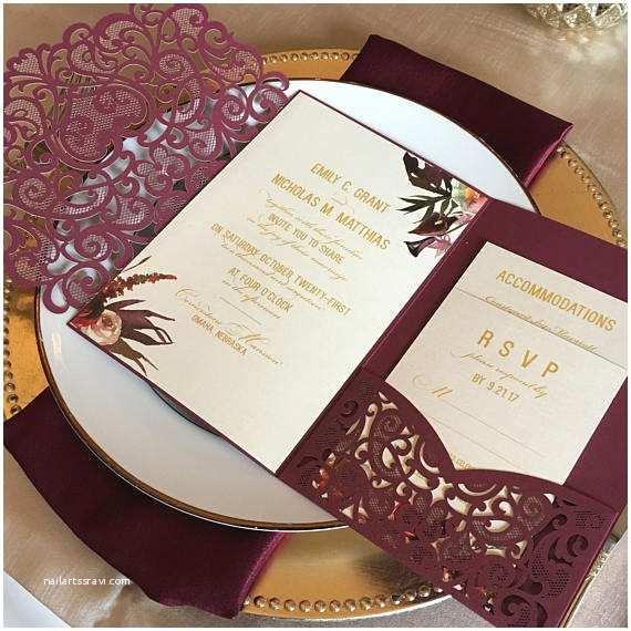 Laser Cut Pocket  Invitations Laser Cut Pocket  Invitation Kit Burgundy