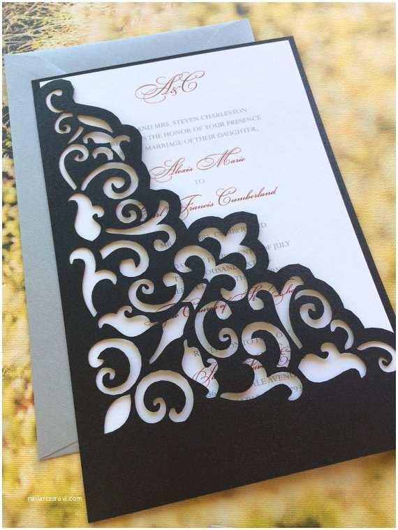 Laser Cut Pocket Wedding Invitations Lasercut Wedding Invitation Sleeve Pocket Elegant