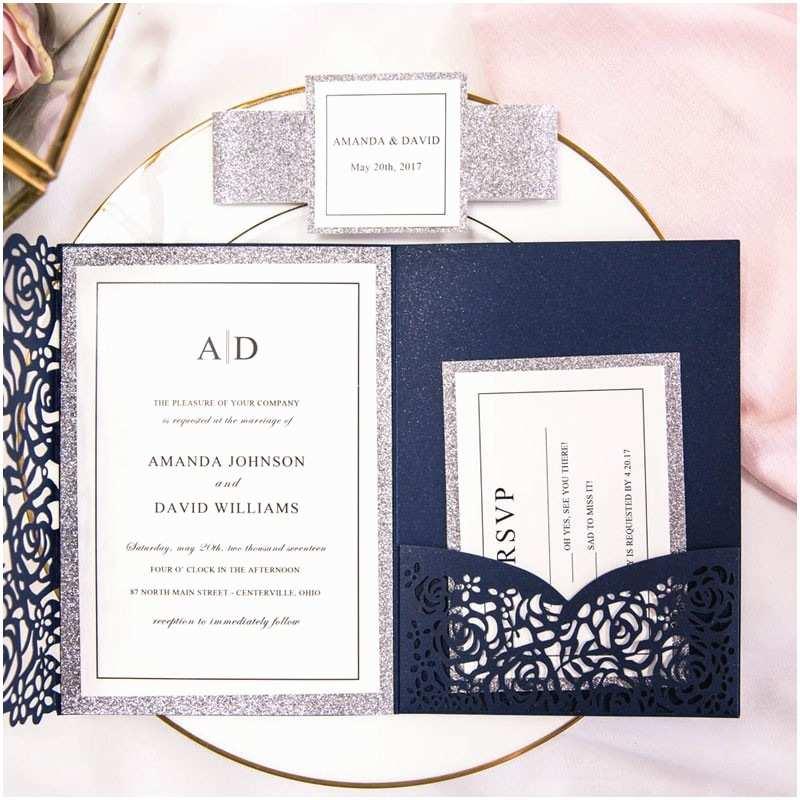 Laser Cut Pocket Wedding Invitations Luxury Navy Blue and Silver Glitter Rose Laser Cut Pocket