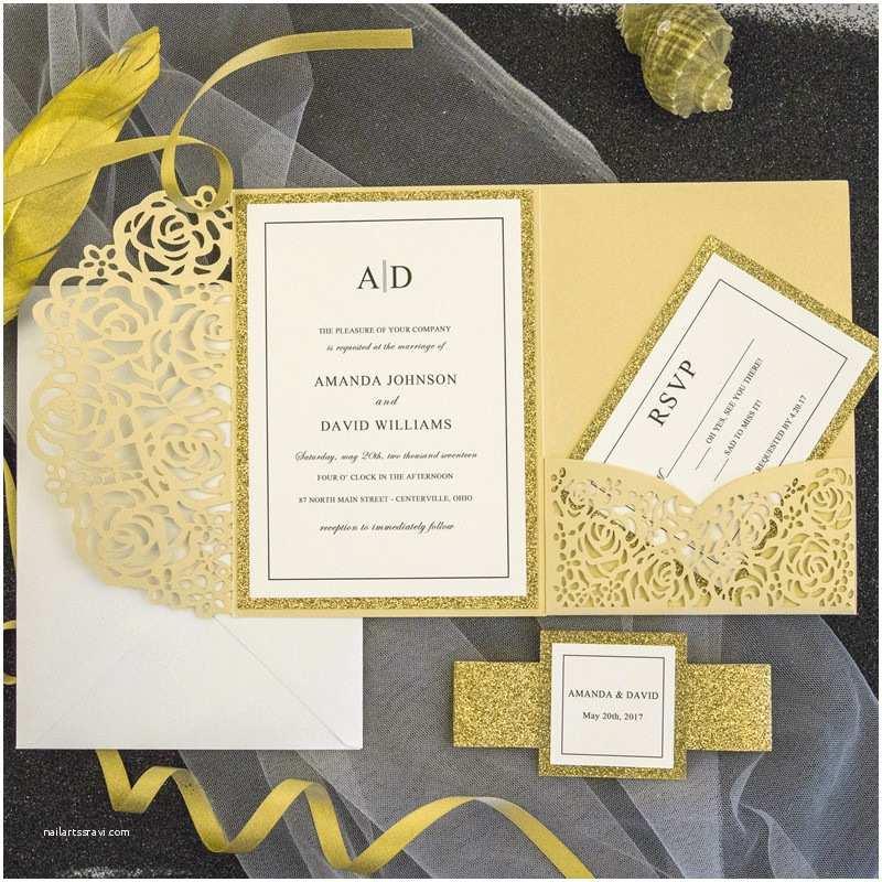 Laser Cut Pocket Wedding  Luxury Pale Gold Rose Laser Cut Pocket Wedding