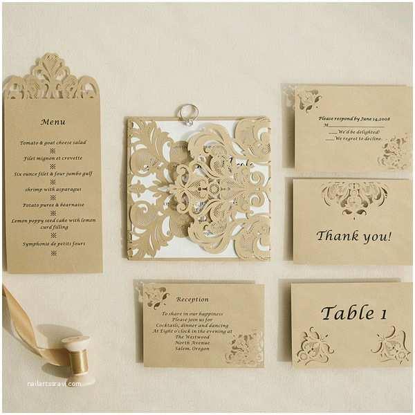 Laser Cut Pocket Wedding Invitations Modern Bronze Laser Cut Pocket Invitations with Matching