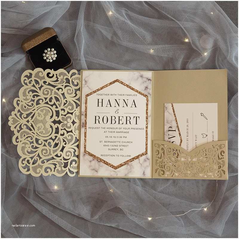 Laser Cut Pocket Wedding Invitations Modern Champgne Gold Laser Cut Pocket Wedding Invitation