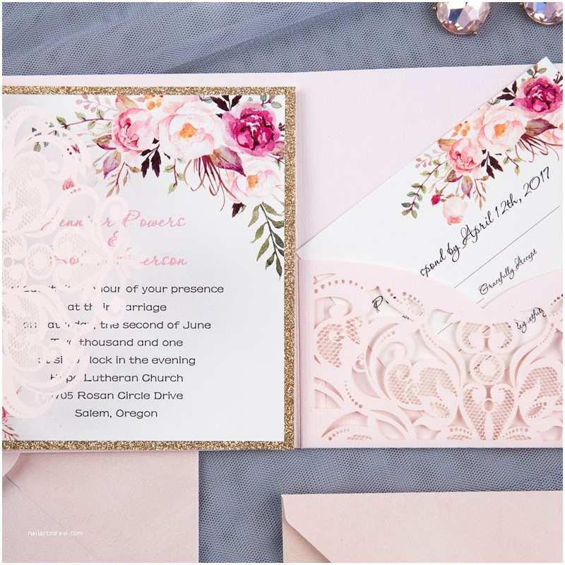 Laser  Pocket Wedding Invitations Romantic Blush Pink Spring Flower Glittery Laser