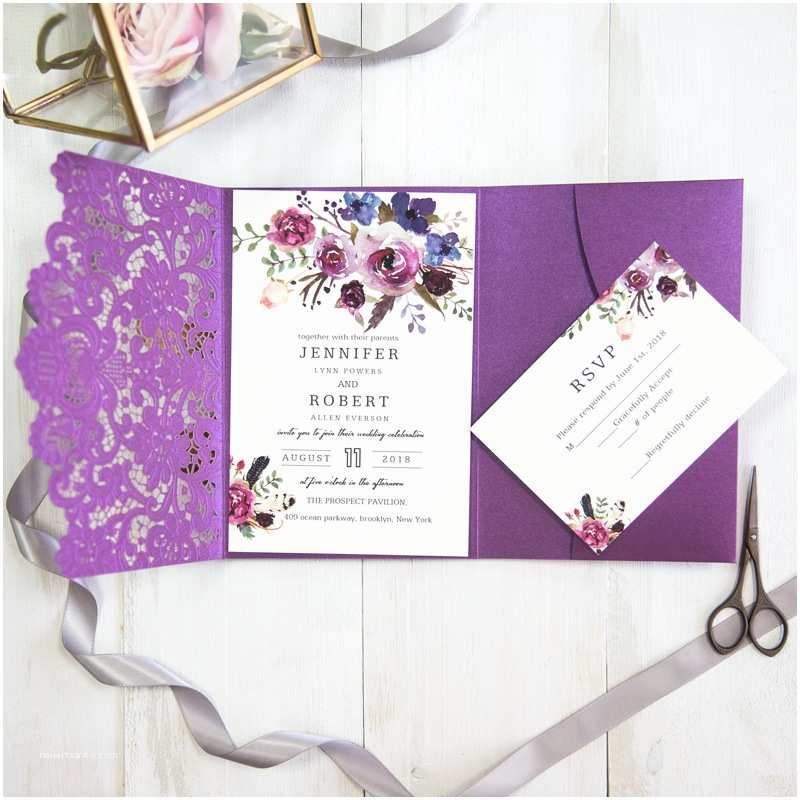 Laser Cut  Wedding Invitations Vivid Shades Of Purple Watercolor Floral Laser Cut