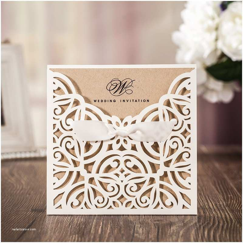 Laser Cut  Wedding Invitations White Square Laser Cut Flower With Bowknot Lace