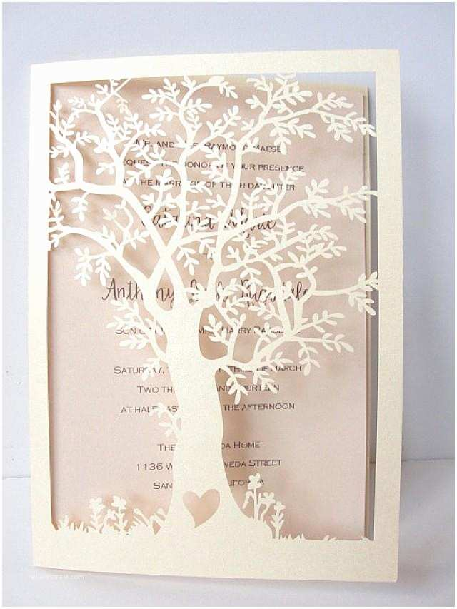 Laser Cut Tree Wedding Invitations Laser Cut Tree Wedding Invitation Fall Wedding Invitation