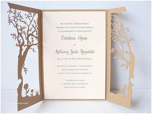 Laser Cut Tree Wedding Invitations Tree Laser Cut Wedding Invitation