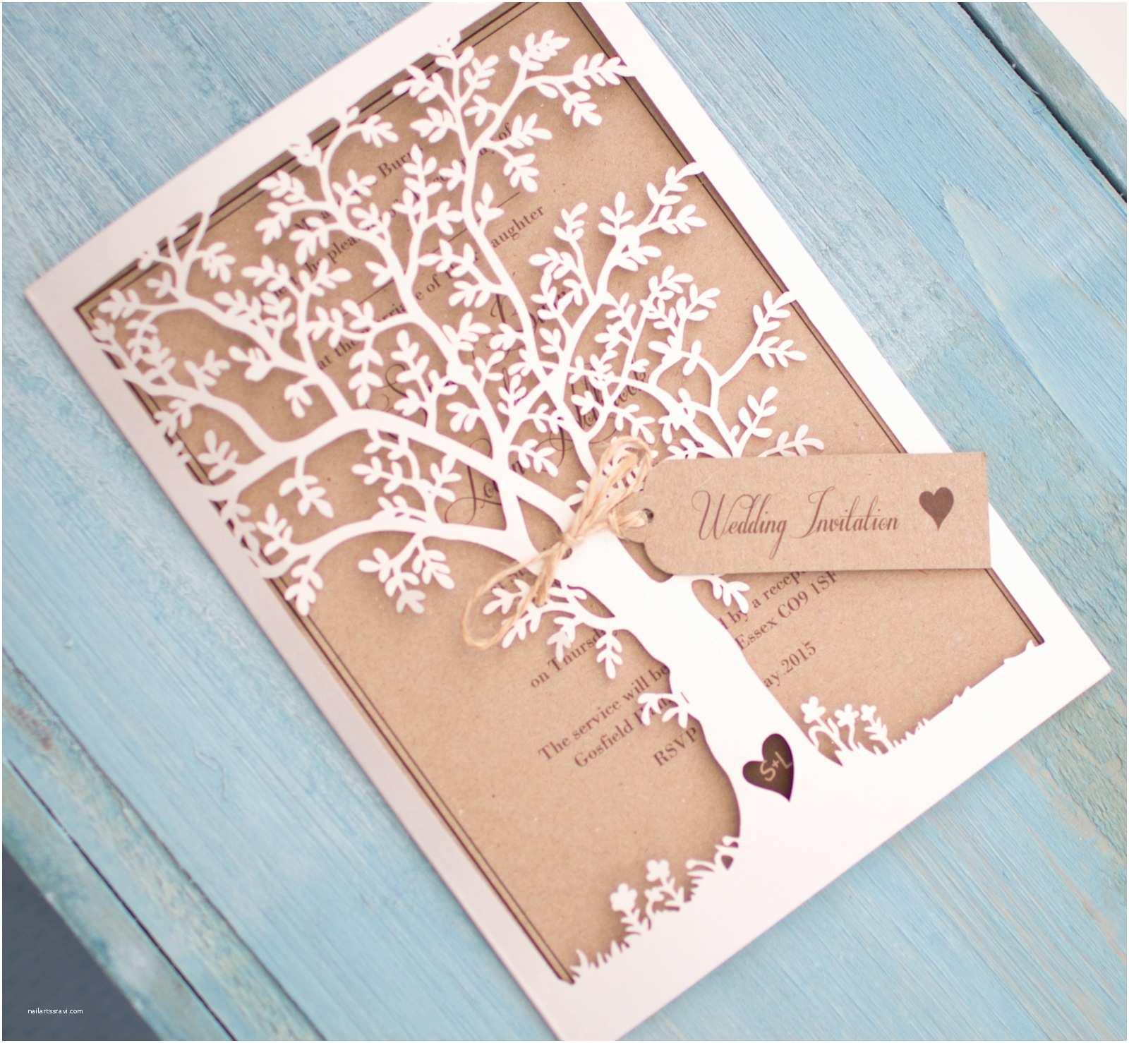 Laser Cut Tree Wedding Invitations Vintage Style Lasercut Black Tree Invitation Vintage