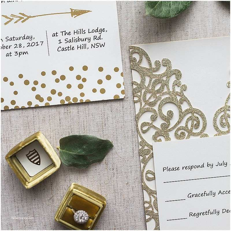 Laser Cut Wedding Invitation Kits Luxury Gold Glittery Cupid's Arrow Polka Dots Laser Cut