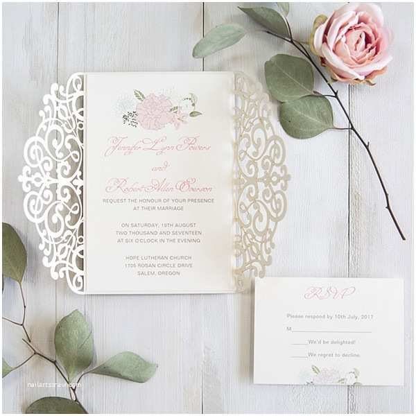 Laser Cut Wedding Invitation Kits Luxury Pale Gold and Blush Pink Floral Laser Cut Wedding