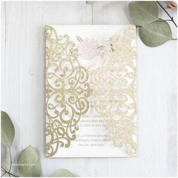 Laser Cut Wedding Invitation Kits Luxury Pale Gold and Blush Pink Floral Laser Cut Wedding