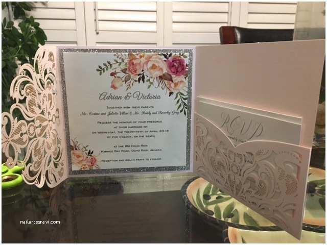 Laser Cut Wedding Invitation Kits Romantic Blush Pink Spring Flower Glittery Laser Cut