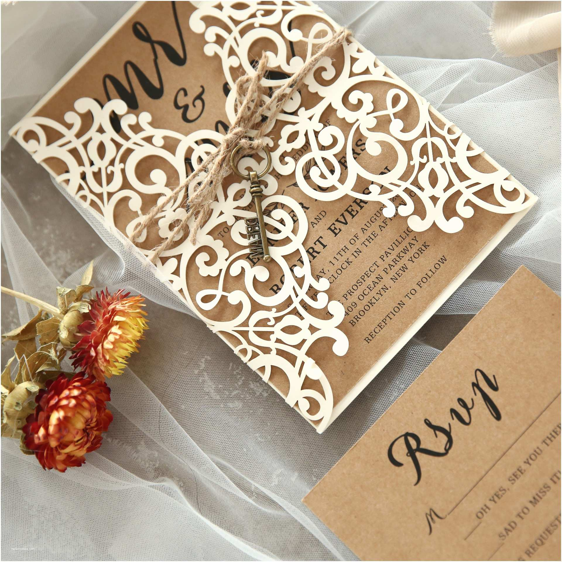 romantic floral laser cut wedding invitation kits ewws014