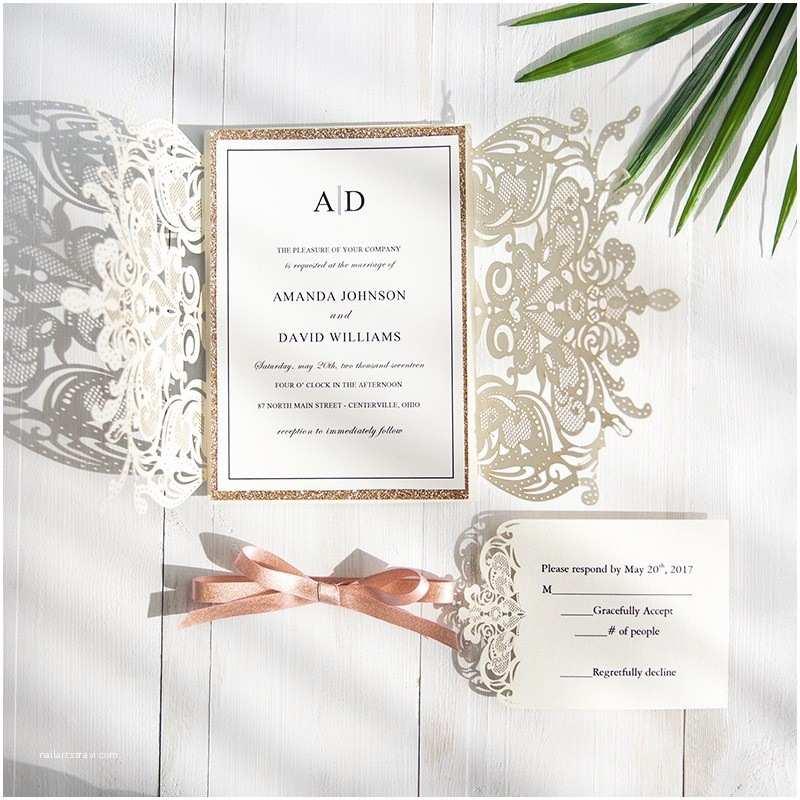Laser Cut Wedding Invitations Exclusive Ivory Laser Cut Wedding Invitation with Glitter