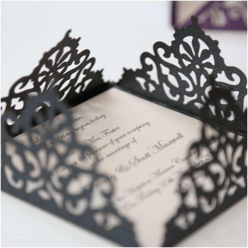 Laser Cut Wedding Invitations Lace Edged Black Square Laser Cut Wedding Invitation