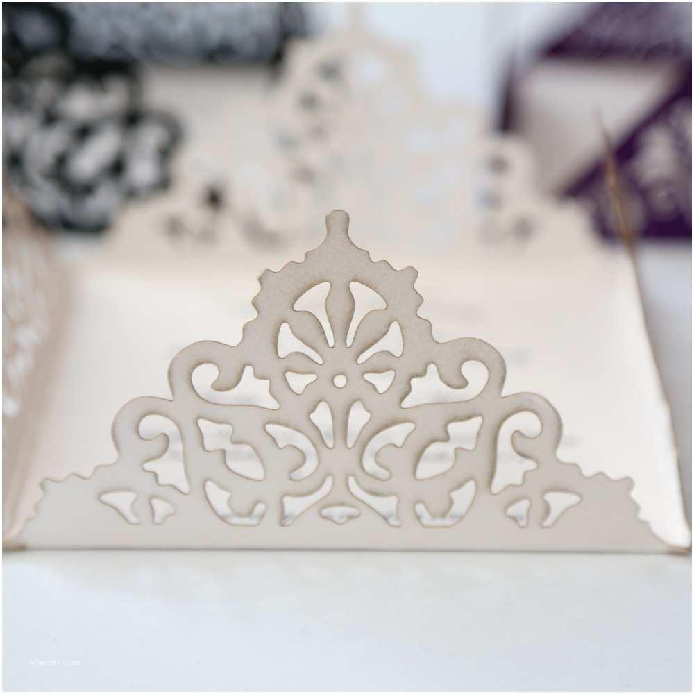 Laser Cut Wedding Invitations Lace Edged Ivory Square Laser Cut Wedding Invitation