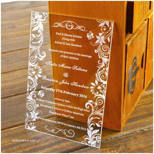 Laser Cut Wedding Invitations Near Me Personalised Engraved butterfly Acrylic Wedding