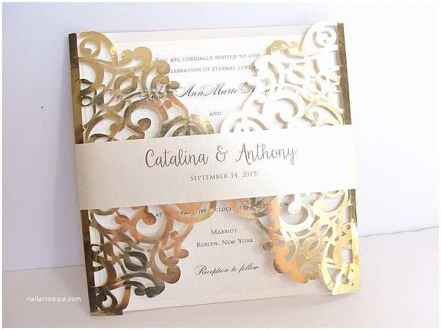 Laser Cut Wedding Invitations Nyc Laser Cut Wedding Invitation Gold Foil Wedding Invite Lace