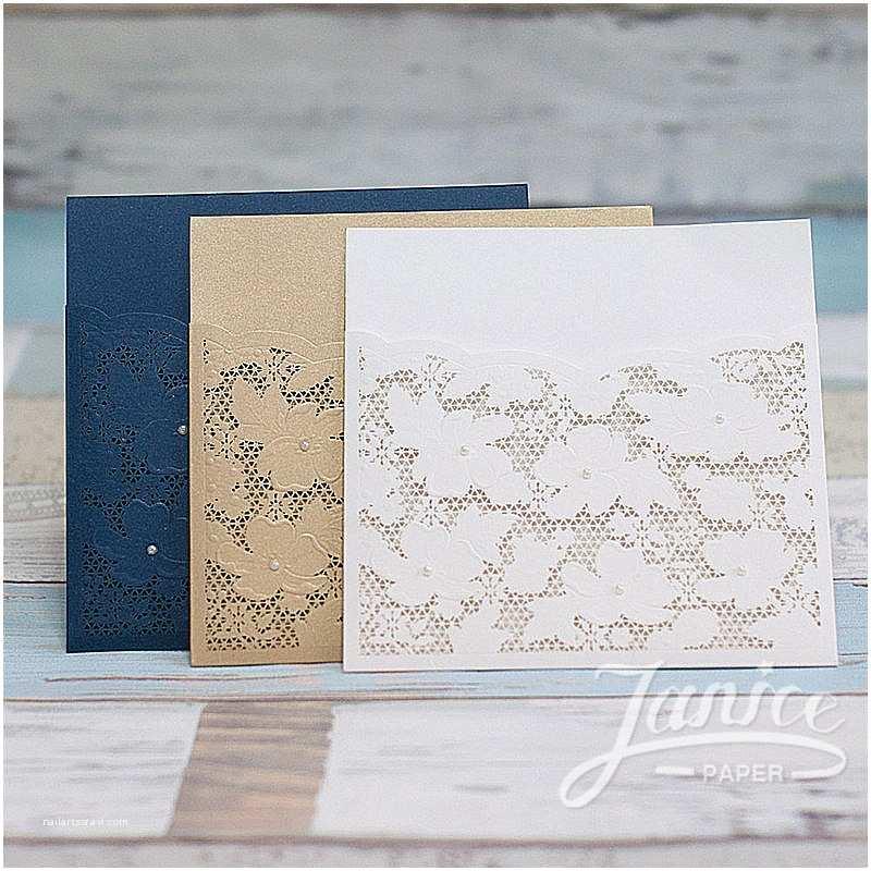 Laser Cut Wedding Invitations wholesale Fancy Floral Pearl Laser Cut wholesale Pocket Wedding