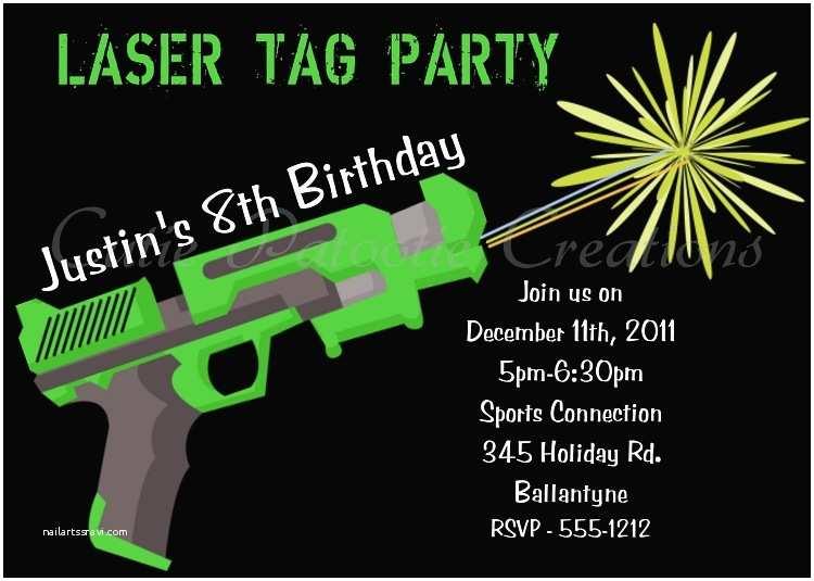 Laser Tag Birthday Invitations Airsoft Nerf Gun