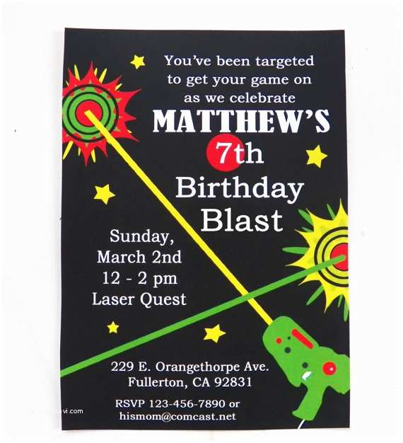 Laser Tag Birthday Invitations Laser Tag Birthday Invitation Printable and Printed with Free