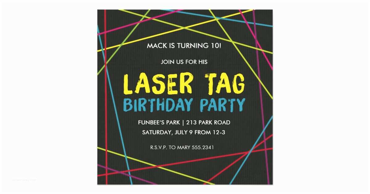 Laser Tag Birthday Invitations Party Invitation
