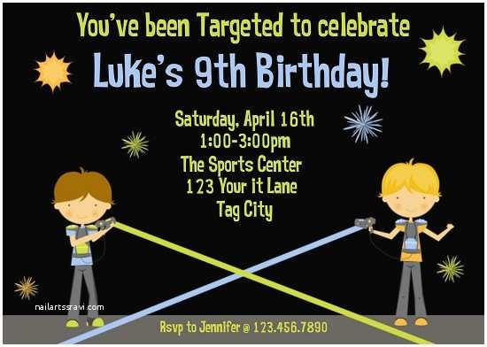 Laser Tag Birthday Invitations Party Ideas Bagvania Free