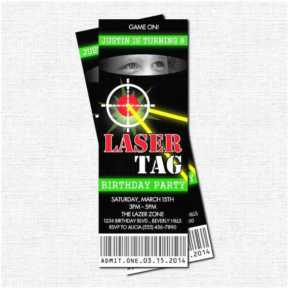 Laser Tag Birthday Invitations Party Tickets Print By