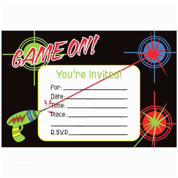 Laser Tag Birthday Invitations Party Template Free