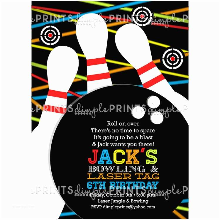 Laser Tag Party Invitations Laser Tag & Bowling Birthday Party Invite Dimple Prints Shop