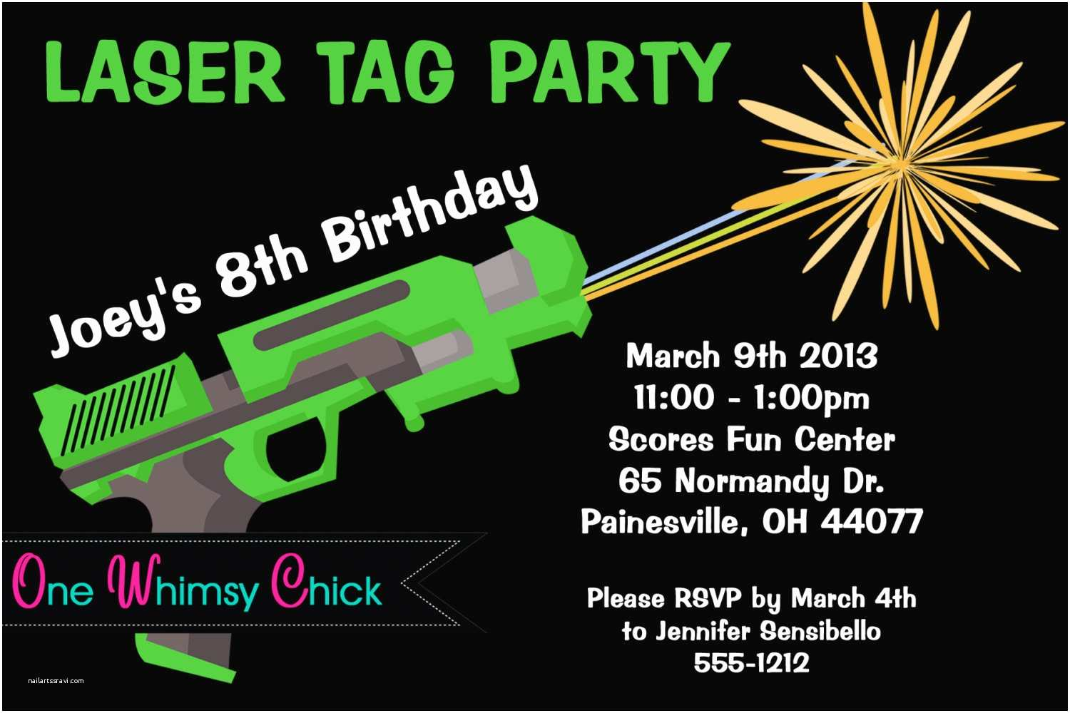 Laser Tag Party Invitations Laser Tag Birthday Invitation Printable or Printed Laser