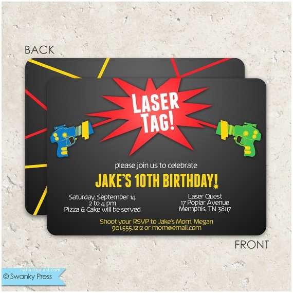 Laser Tag Party Invitations Laser Tag Birthday Invitations Fun 2 Sided by Swankypress