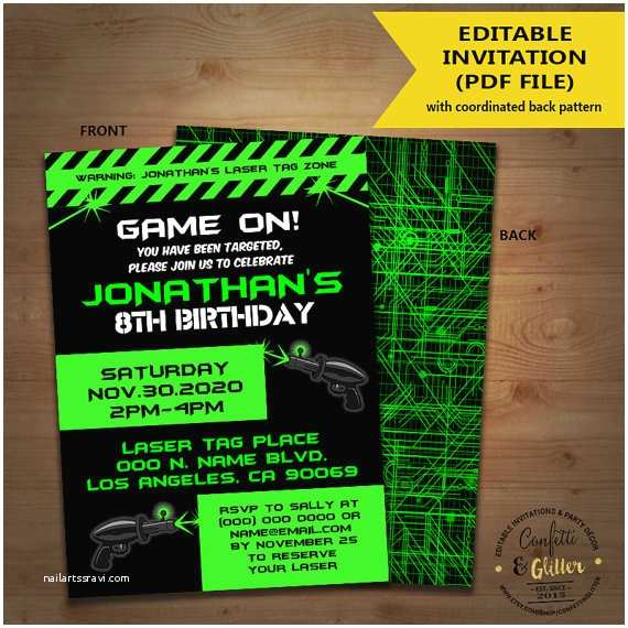 Laser Tag Party Invitations Laser Tag Birthday Party Invitation Game On Laser Tag Invite