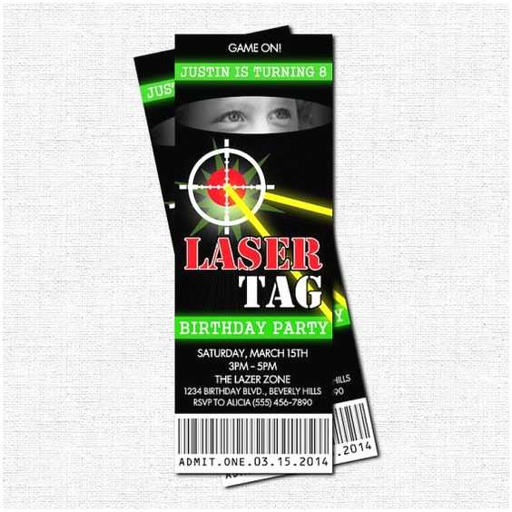 Laser Tag Party Invitations Laser Tag Birthday Party Ticket Invitation Thank You