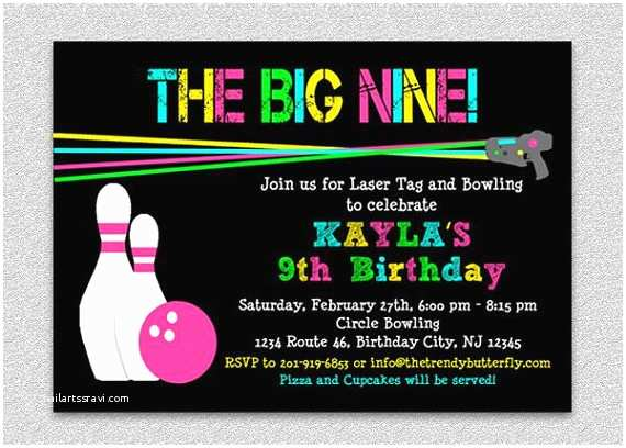 Laser Tag Party Invitations Laser Tag Bowling Birthday Invitation Bowling Birthday Party