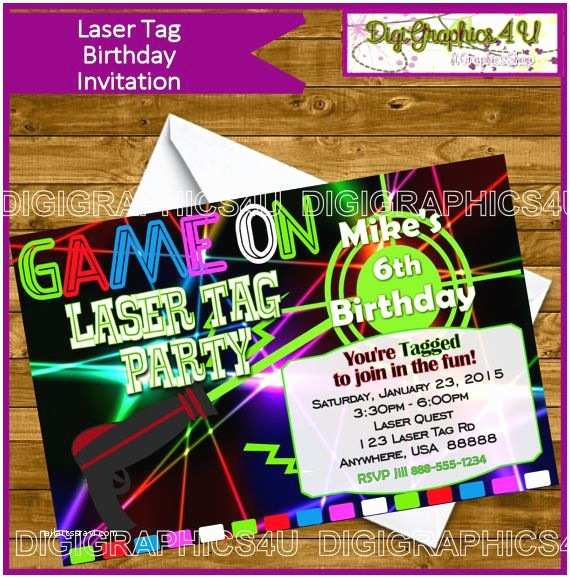 Laser Tag Party Invitations Laser Tag Invitation and or Laser Tag Birthday Party
