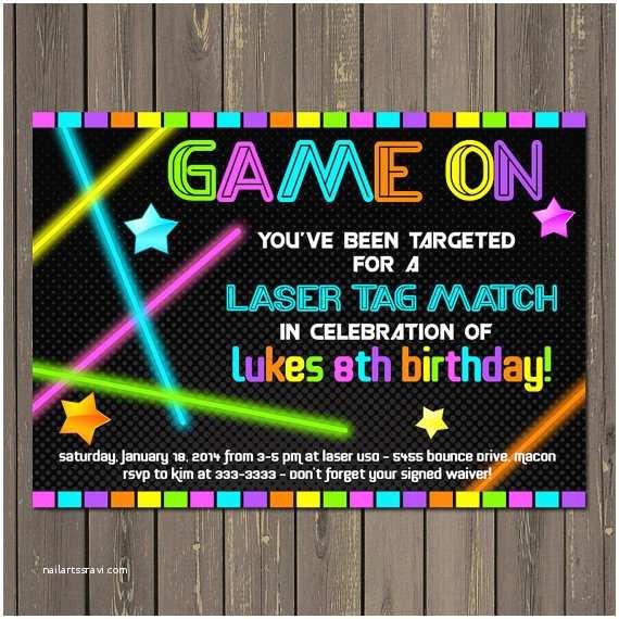 Laser Tag Party Invitations Laser Tag Invitation Laser Tag Birthday Invitation Neon