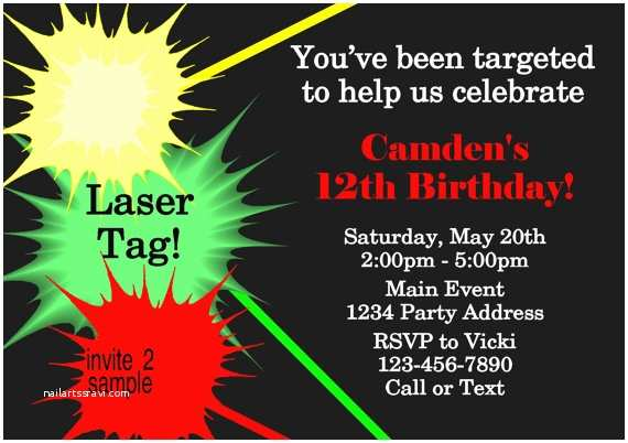 Laser Tag Party Invitations Laser Tag Invitation Laser Tag Birthday Party by Jcsaccents