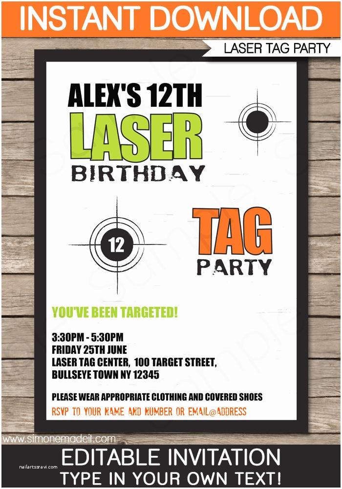 Laser Tag Party Invitations Laser Tag Invitation Template – Green orange