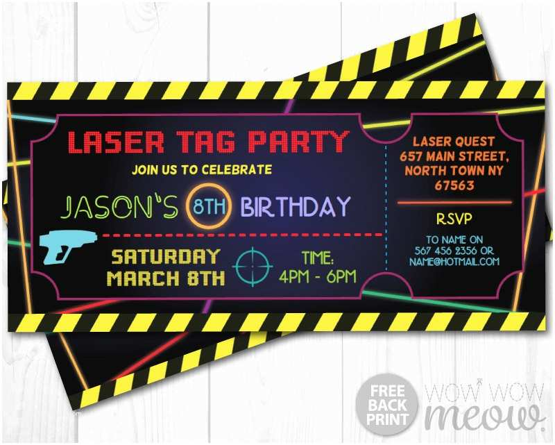 Laser Tag Party Invitations Laser Tag Invitations Ticket Birthday Party Let S Glow